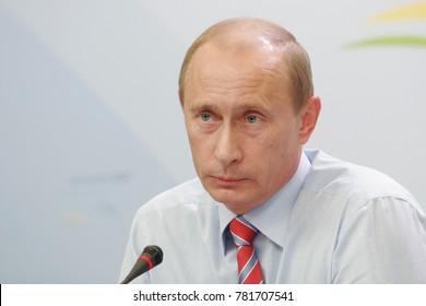 Heiligendamm, Germany - June 08, 2007: Russian president Vladimir Putin speaks on open press conference during 33rd G8 summit