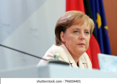 Heiligendamm, Germany - June 08, 2007: Chancellor of Germany Angela Merkel speaks on open press conference during 33rd G8 summit