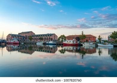 HEILIGENHAFEN, GERMANY - SEPTEMBER 25, 2017: The Fishing port of Heiligenhafen at the Baltic Sea