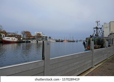 Heiligenhafen, Schleswig-Holstein, Germany, Europe - November 22, 2019:  View of a mobile flood protection wall at the quay of Heiligenhafen on the Baltic Sea.