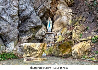 Heiligenkreuz, Austria - Feb 20, 2019: The Lourdesgrotte ( Lourdes Grotto) in Heiligenkreuz (Holy Cross Abbey), a Cistercian monastery.