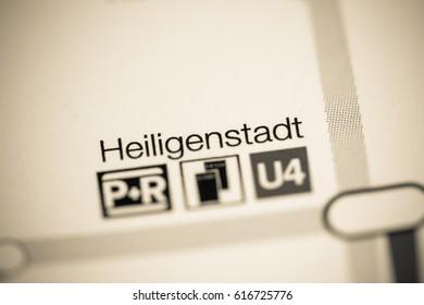 Heiligenstadt Station. Vienna Metro map.