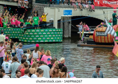 Heineken Boat At The Gay Pride Amsterdam The Netherlands 2019
