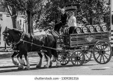 Heineken Horse And Carriage At Amsterdam The Netherlands 2018 In Black And White
