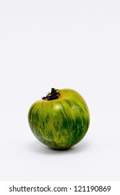 Heirloom Green Zebra Tomato on White