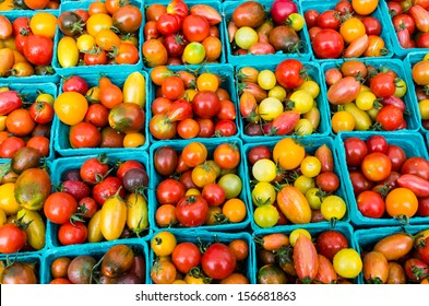 Heirloom small tomatoes on display at the farmers market