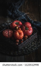 Heirloom tomatoes in the basket