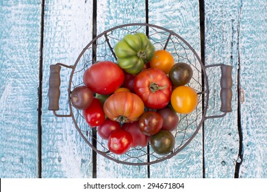 Heirloom tomatoes in basket