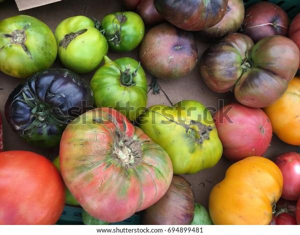 Heirloom Tomatoes Irregular Size Stock Photo Edit Now 694899481