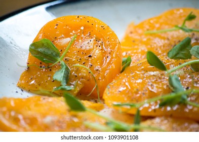 Heirloom Tomatoes with Pea Shoots