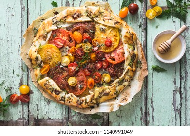 Heirloom Tomatoes Tart with Zucchini, Blue Cheese, Thyme and Honey