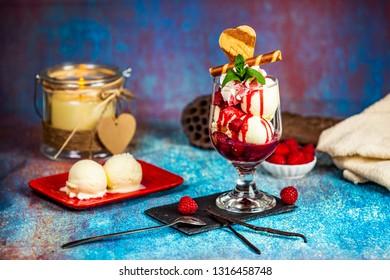 Heisse Liebe austrian dessert, vanilla ice cream with raspberry sauce - Shutterstock ID 1316458748