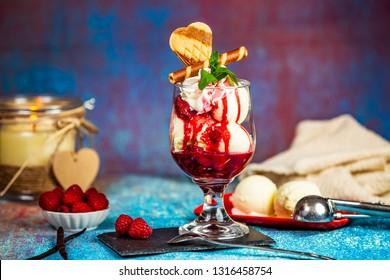 Heisse Liebe austrian dessert, vanilla ice cream with raspberry sauce - Shutterstock ID 1316458754