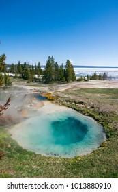 Türkisblaue Heisse Quelle bei West Thumb mit zugefrorenem Yello - Shutterstock ID 1013880910