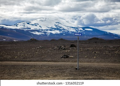Hekla road sign with volcano in background. Hekla (Hecla) is one of Icelands most active volcanoes and a popular tourist attraction in Southwestern Iceland, Scandinavia