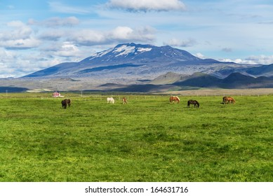 Hekla is a still active volcano, north of Hella