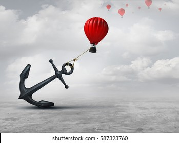 Held back metaphor as a large anchor holding or oppressing an air balloon and restricting movement as a suppression business metaphor  from aspiring to succeed with 3D illustration elements.