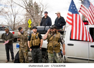 Helena, Montana - April 19, 2020: Yellowstone Militia of Billings, armed group of men carrying guns and weapons, protest of government shutdown. People protesting Montana's stay at home orders.
