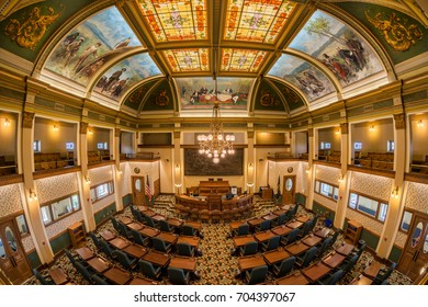 HELENA, MONTANA - JULY 19: Senate chamber in the Montana State Capitol on July 19, 2017 in Helena, Montana