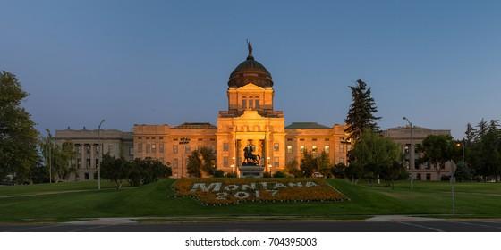 HELENA, MONTANA - JULY 19: Montana State Capitol at 1301 E 6th Avenue on July 19, 2017 in Helena, Montana