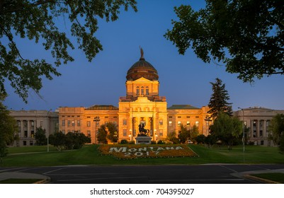 HELENA, MONTANA - JULY 19: Montana State Capitol at 1301 E 6th Avenue on July 19, 2017 in Helena, Montana