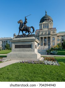 HELENA, MONTANA - JULY 19: Statue of Thomas Francis Meagher in front of the Montana State Capitol at 1301 E 6th Avenue on July 19, 2017 in Helena, Montana