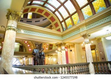 Helena, Montana / USA - April 14 2018:  Interior of the Montana State Capitol Building with a colorful stained glass ceiling