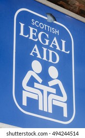 HELENSBURGH, SCOTLAND, UK - 5 OCTOBER 2016: Scottish Legal Aid sign