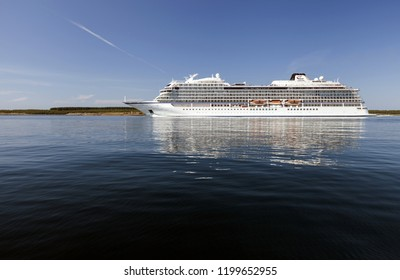 Helgeland, Norway - summer 2018: Viking Ocean Cruises cruise ship Viking Sky on sunny day in Helgeland, passing Austbo.