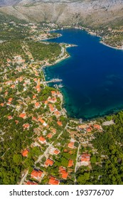 Helicopter aerial shot of beautiful lagoon Zaton near Dubrovnik in Croatia.  Well known tourist destination.