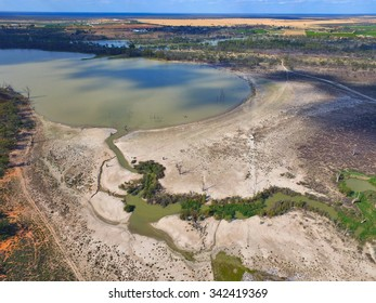 helicopter aerial view murray river wetlands lagoons & back water river murray darling basin. Drought stricken irrigation area & mallee areas in outback australia, creek inlet and salt pan. Elrimal