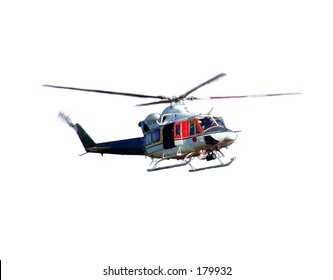 helicopter in the air over white background.