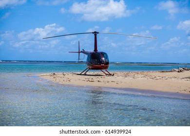 helicopter at the caribbean/Panama/San Blas