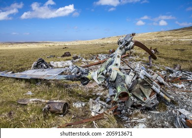 Helicopter Crashed in Falkland Islands. From Falklands War, wreck of a argentine crashed helicopter left over from the Falklands 10 km east from Port Stanley