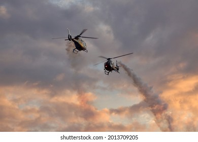 """Helicopter from Eurocopter EC-120 'Colibrí """"Patrulla Aspa"""" at the largest air festival in Lleida, Catalonia, Spain, September, 21, 2019"""