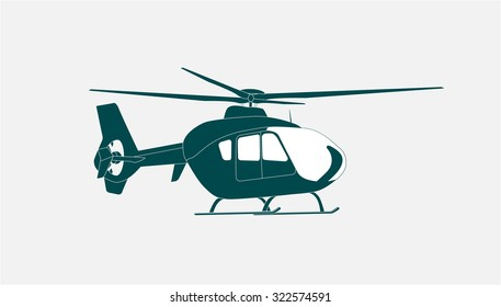 Helicopter in Flight. Isolated Illustration