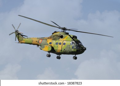 Helicopter in Flight at Romanian Air Force Parade