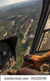 Helicopter flights over the  Zambezi River and Victoria Falls in Zambezi National Park is a highlight for tourist visiting the world famous Landmark