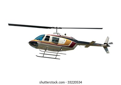 Helicopter flying isolated on white with clipping path