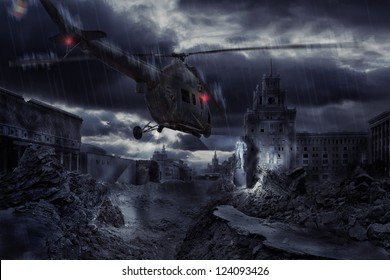Helicopter flying at night over ruined Moscow city