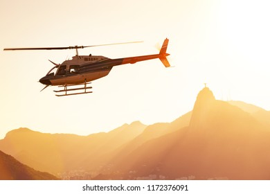 helicopter flying over Rio de Janeiro at the evening light.  Brazil