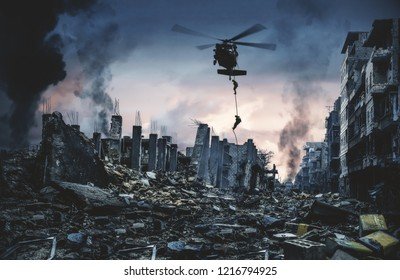helicopter and forces in destroyed city