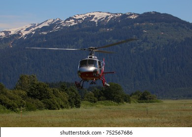 helicopter in front of a tree covered  mountain.
