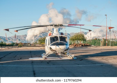Helicopter in geothermal power plant