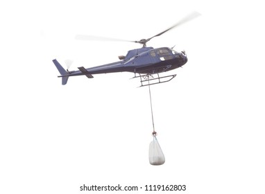 helicopter with goods load carry isolated on white background