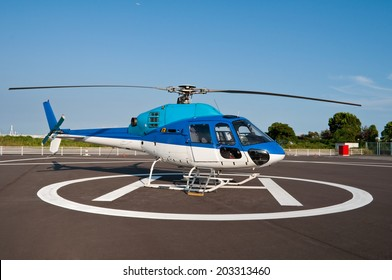 Helicopter at a heliport