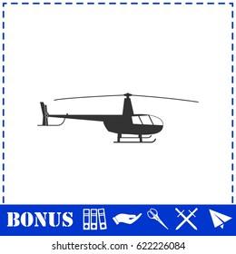 Helicopter icon flat. Simple illustration symbol and bonus pictogram