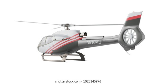 Helicopter isolated on the white background. 3D rendering, back view