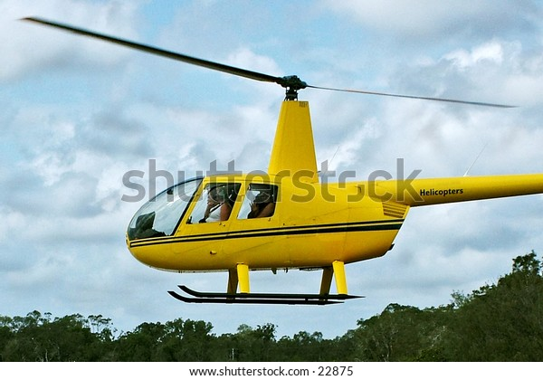 A helicopter landing