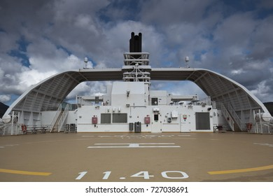 helicopter landing field on a ferry